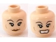 Part No: 3626bpb0590  Name: Minifigure, Head Dual Sided Female, Dark Brown Eyebrows, Crow's Feet, Smile / Angry Pattern (HP Narcissa) - Blocked Open Stud