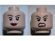 Part No: 3626bpb0635  Name: Minifigure, Head Dual Sided Female Eyelashes and Red Lips, Smile / Angry Pattern - Blocked Open Stud