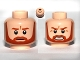Part No: 3626bpb0670  Name: Minifigure, Head Dual Sided Dark Orange Trim Beard, Closed Mouth / Bared Teeth Pattern - Blocked Open Stud