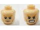 Part No: 3626bpb0873  Name: Minifigure, Head Dual Sided Bushy Orange Eyebrows, Cheek Lines, Frown / Angry Pattern (Aquaman) - Blocked Open Stud