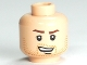 Part No: 3626cpb0382  Name: Minifigure, Head Male Brown Stubble, Brown Eyebrows and Open Grin Pattern - Hollow Stud