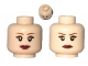 Part No: 3626cpb0416  Name: Minifigure, Head Dual Sided Female Eyelashes, Eye Shadow, Dark Red Lips, Smile / Frown Pattern (Tamina, Leia) - Hollow Stud