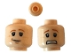 Part No: 3626cpb0492  Name: Minifigure, Head Dual Sided Dark Orange Eyebrows, Freckles, Smile / Scared Pattern (HP Ron) - Hollow Stud