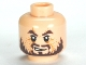 Part No: 3626cpb0558  Name: Minifigure, Head PotC Hector Barbossa Ragged Brown Beard Pattern - Hollow Stud