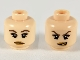 Part No: 3626cpb0564  Name: Minifigure, Head Dual Sided Female, Dark Brown Eyebrows and Eyeshadow, Medium Nougat Lips, Neutral / Conniving Pattern - Hollow Stud