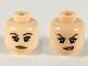 Part No: 3626cpb0564  Name: Minifigure, Head Dual Sided Female, PotC Angelica, Dark Brown Eyebrows and Eyeshadow, Medium Dark Flesh Lips, Neutral / Conniving Pattern - Hollow Stud