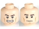 Part No: 3626cpb0567  Name: Minifigure, Head Dual Sided PotC Philip Thick Brown Eyebrows and Cheek Lines, Determined / Angry Pattern - Hollow Stud