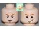 Part No: 3626cpb0634  Name: Minifigure, Head Dual Sided Dark Orange Eyebrows, White Pupils, Brown Chin Dimple, Determined / Smile Pattern - Hollow Stud