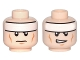 Part No: 3626cpb0637  Name: Minifigure, Head Dual Sided White Headband and Cheek Lines, Frown / Determined Pattern (Batman) - Hollow Stud