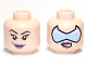 Part No: 3626cpb0645  Name: Minifigure, Head Dual Sided Female Purple Lips with Smirk and Glasses / Arched Eyebrows and Eyelashes Pattern - Hollow Stud