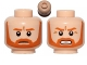 Part No: 3626cpb0670  Name: Minifigure, Head Dual Sided Beard with Brown Trim Beard Closed Mouth / Bared Teeth Pattern - Hollow Stud
