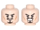 Part No: 3626cpb0705  Name: Minifigure, Head Dual Sided Moustache, Goatee and Cheek Lines, Determined / Angry Pattern - Hollow Stud