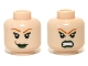 Part No: 3626cpb0711  Name: Minifigure, Head Dual Sided Female Green Lips and Orange Eyebrows, Smile / Bared Teeth Pattern - Hollow Stud