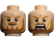 Part No: 3626cpb0725  Name: Minifigure, Head Dual Sided LotR Eomer Beard and Crow's Feet Frowning / Shouting Pattern - Hollow Stud