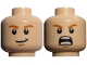 Part No: 3626cpb0726  Name: Minifigure, Head Dual Sided LotR Merry Smirking / Shouting Pattern - Hollow Stud