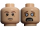 Part No: 3626cpb0728  Name: Minifigure, Head Dual Sided LotR Frodo Brown Eyebrows Tired / Poisoned, Wide Gray Eyes Pattern - Hollow Stud