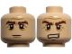 Part No: 3626cpb0733  Name: Minifigure, Head Dual Sided LotR Gimli Bushy Brown Eyebrows, Stern / Grimacing Pattern - Hollow Stud