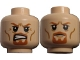 Part No: 3626cpb0734  Name: Minifigure, Head Dual Sided LotR Boromir Goatee Stern / Grimacing Pattern - Hollow Stud