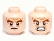 Part No: 3626cpb0819  Name: Minifigure, Head Dual Sided LotR Bushy Brown Eyebrows, Wrinkles, Scowling / Battle Rage Pattern (Gloin) - Hollow Stud