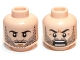 Part No: 3626cpb0821  Name: Minifigure, Head Dual Sided LotR Beard Stubble, Calm / Battle Rage Pattern (Kili) - Hollow Stud