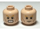 Part No: 3626cpb0873  Name: Minifigure, Head Dual Sided Bushy Orange Eyebrows, Cheek Lines, Frown / Angry Pattern (Aquaman) - Hollow Stud