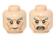 Part No: 3626cpb0937  Name: Minifigure, Head Dual Sided LotR Gandalf Thick Gray Eyebrows, Smile / Angry Pattern - Hollow Stud