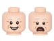 Part No: 3626cpb0976  Name: Minifigure, Head Dual Sided Light Gray Eyebrows, White Pupils, Open Mouth, Cheek Lines, Smile / Open Mouth Scared Pattern - Hollow Stud