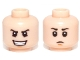 Part No: 3626cpb0991  Name: Minifigure, Head Dual Sided Black Eyebrows, Open Mouth Evil Grin / Closed Mouth Sad Pattern (SW Young Boba Fett) - Hollow Stud