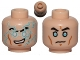 Part No: 3626cpb1012  Name: Minifigure, Head Dual Sided Black Eyebrows, Light Blue Lightning Bolts Pattern / Light Blue Eyes, Worried Pattern (SW Jek-14) - Hollow Stud