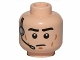 Part No: 3626cpb1032  Name: Minifigure, Head Male Black Eyebrows, Cheek Lines, Frown, Headset Pattern (SW Imperial) - Hollow Stud