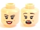 Part No: 3626cpb1099  Name: Minifigure, Head Dual Sided Female Black Eyebrows, Eyelashes, Red Lips, Dimples, Smile / Scared Pattern (Mary Jane 5) - Hollow Stud