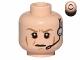 Part No: 3626cpb1120  Name: Minifigure, Head Male Dark Tan Eyebrows Furrowed, Cheek Lines, Frown, Headset Pattern (SW Airen Cracken) - Hollow Stud