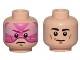 Part No: 3626cpb1121  Name: Minifigure, Head Dual Sided Black Eyebrows, White Pupils, Chin Dimple, Slight Smile / Pink Visor, Frown Pattern (SW Gray Squadron Pilot) - Hollow Stud