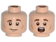 Part No: 3626cpb1123  Name: Minifigure, Head Dual Sided Brown Eyebrows, White Pupils and Chin and Cheek Dimples, Slight Smile / Scared Pattern - Hollow Stud