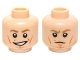 Part No: 3626cpb1160  Name: Minifigure, Head Dual Sided Male Dark Tan Eyebrows, White Pupils, Cheek Lines, Smile / Scowling Pattern (SW Luke Skywalker) - Hollow Stud