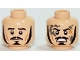 Part No: 3626cpb1197  Name: Minifigure, Head Dual Sided LotR Bard Long Black Sideburns, Moustache, Goatee, Frowning / Angry with Mud Splotches Pattern - Hollow Stud