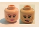 Part No: 3626cpb1212  Name: Minifigure, Head Dual Sided Female Dark Red Eyebrows, Eyelashes, Pink Lips, Cheek Lines, Smile / Bared Teeth Pattern (April O'Neil) - Hollow Stud