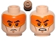 Part No: 3626cpb1225  Name: Minifigure, Head Dual Sided Orange Visor, Black Eyebrows, Determined / Angry Pattern (SW Clone Pilot) - Hollow Stud