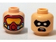 Lot ID: 191194915  Part No: 3626cpb1235  Name: Minifigure, Head Dual Sided Male Black Eye Mask with Eye Holes, Open Mouth / Red Scuba Mask with Orange Goggles Pattern (Robin) - Hollow Stud