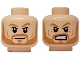 Lot ID: 206078286  Part No: 3626cpb1307  Name: Minifigure, Head Dual Sided Light Brown Eyebrows and Beard, Smile / Angry Pattern - Hollow Stud