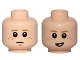 Part No: 3626cpb1366  Name: Minifigure, Head Dual Sided Male Freckles, Concern / Crooked Smile Pattern (SW Anakin) - Hollow Stud