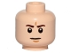Part No: 3626cpb1367  Name: Minifigure, Head Dark Brown Eyebrows, White Pupils, Frown, Furrowed Eyebrows Pattern - Hollow Stud