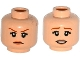 Part No: 3626cpb1368  Name: Minifigure, Head Dual Sided Female Dark Orange Eyebrows, Eyelashes, Flesh Lips, Determined / Worried Pattern - Hollow Stud