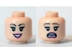 Part No: 3626cpb1370  Name: Minifigure, Head Dual Sided Female Black Eyelashes, Dark Pink Lips, Smile with Teeth / Open Mouth Scared Pattern (Daphne) - Hollow Stud