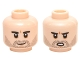 Part No: 3626cpb1428  Name: Minifigure, Head Dual Sided Black Eyebrows, Black Stubble, White Pupils Smiling / Open Mouth Scowling Pattern (SW Poe Dameron) - Hollow Stud