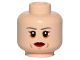 Part No: 3626cpb1437  Name: Minifigure, Head Female Dark Gray Eyebrows, Red Lips, Cheek Lines Pattern - Hollow Stud