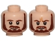 Part No: 3626cpb1451  Name: Minifigure, Head Dual Sided Beard, Brown Eyebrows, Moustache, White Pupils, Smile / Frown Pattern (SW Qui-Gon) - Hollow Stud
