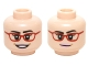 Part No: 3626cpb1458  Name: Minifigure, Head Dual Sided Female Glasses Red Frames, Dark Brown Eyebrows with Open Smile / Slight Smile Pattern (Amy Fowler) - Hollow Stud