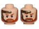 Part No: 3626cpb1472  Name: Minifigure, Head Dual Sided Beard with Brown Trim Beard and Headset, Closed Mouth / Bared Teeth Pattern (SW Obi-Wan) - Hollow Stud