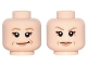 Part No: 3626cpb1489  Name: Minifigure, Head Dual Sided Female Dark Tan Eyebrows, Flesh Lips, Laugh Lines, Smirk / Eyebrow Raised Pattern (Princess Leia) - Hollow Stud